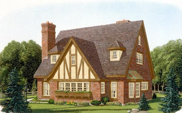 Contemporary Tudor House Plan 90348 Elevation