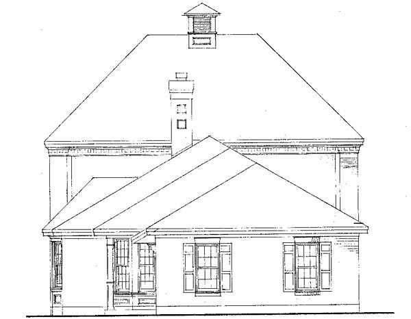 Cabin, Colonial, Contemporary, Southern House Plan 90378 with 3 Beds, 3 Baths, 2 Car Garage Rear Elevation