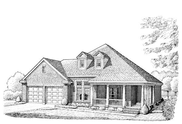 Country Farmhouse Southern Traditional House Plan 90385 Elevation