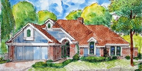 European Traditional House Plan 90390 Elevation