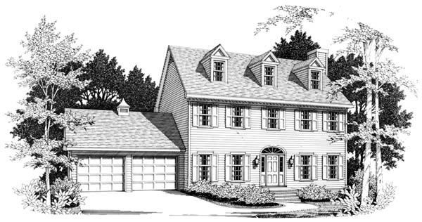 Colonial House Plan 90448