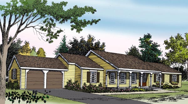 Ranch House Plan 90601 with 3 Beds, 3 Baths, 2 Car Garage Elevation