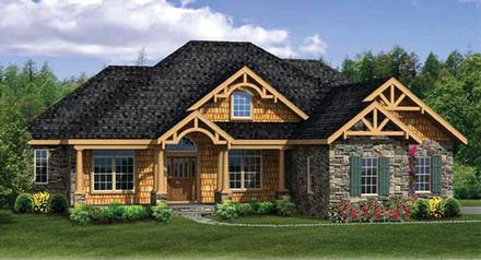 Country Craftsman Ranch Elevation of Plan 90607