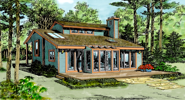 Cabin Contemporary House Plan 90621 Elevation