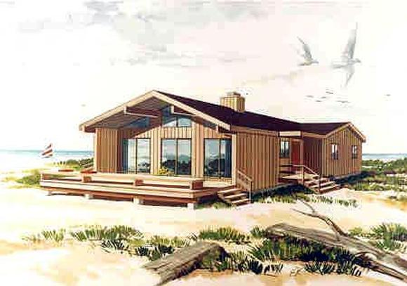Coastal, Contemporary House Plan 90630 with 3 Beds, 2 Baths Elevation