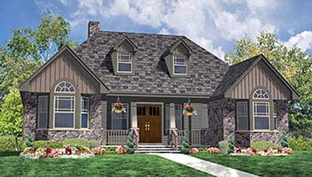 Country Farmhouse Ranch Southern Elevation of Plan 90655