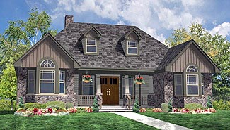 Country Farmhouse Ranch Southern House Plan 90655 Elevation