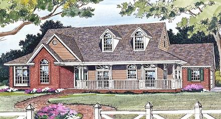 Country Farmhouse Ranch Elevation of Plan 90663