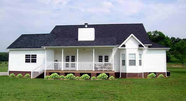 Country Farmhouse Ranch Rear Elevation of Plan 90663