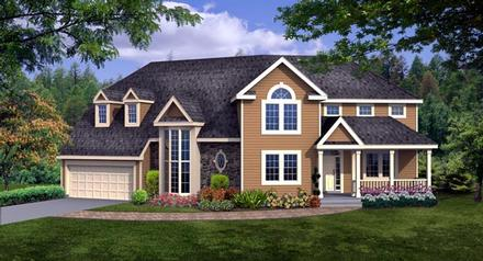 Country Craftsman Farmhouse Elevation of Plan 90666