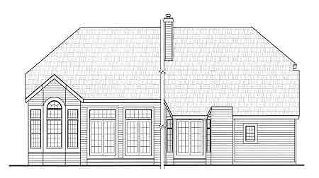 Country Craftsman Farmhouse Rear Elevation of Plan 90666