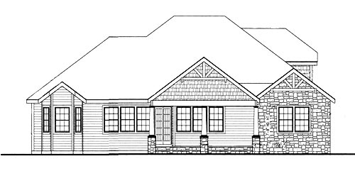 Country Craftsman Ranch House Plan 90667 Rear Elevation