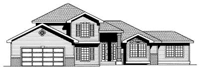 Traditional House Plan 90702 with 4 Beds, 3 Baths, 2 Car Garage Elevation