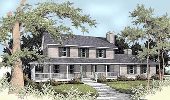 Country, Farmhouse House Plan 90709 with 5 Beds, 4 Baths, 2 Car Garage Elevation