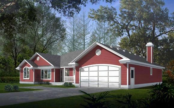 One-Story, Ranch, Traditional House Plan 90713 with 3 Beds, 3 Baths, 2 Car Garage Elevation