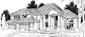 European , Mediterranean House Plan 90718 with 4 Beds, 4 Baths, 4 Car Garage Elevation