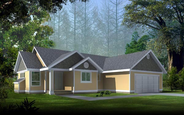 One-Story, Ranch, Traditional House Plan 90732 with 3 Beds, 2 Baths, 2 Car Garage Elevation