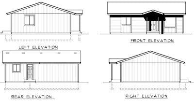 Cabin Ranch Rear Elevation of Plan 90756