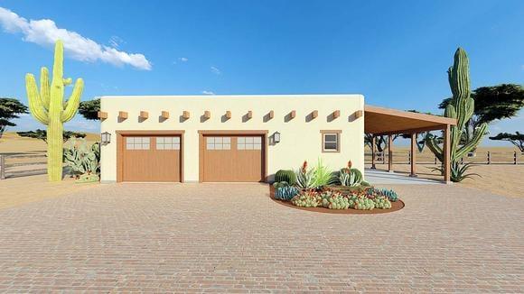 Southwest 2 Car Garage Plan 90821 Elevation