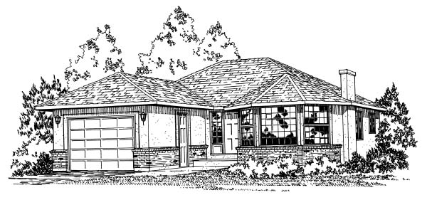 Traditional House Plan 90851 with 3 Beds, 2 Baths, 1 Car Garage Elevation