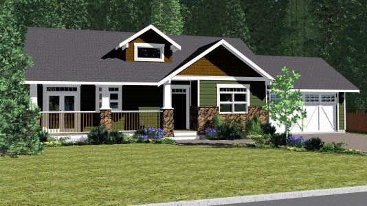 Craftsman Traditional House Plan 90877 Elevation