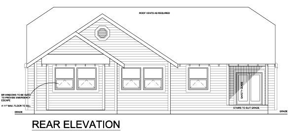 Colonial Craftsman Traditional House Plan 90878 Rear Elevation