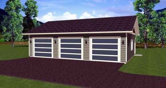 3 Car Garage Plan 90882 Elevation