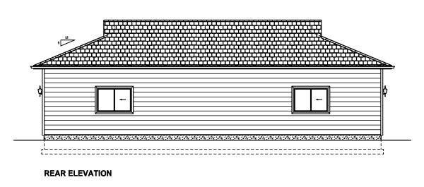 Rear Elevation of Plan 90886