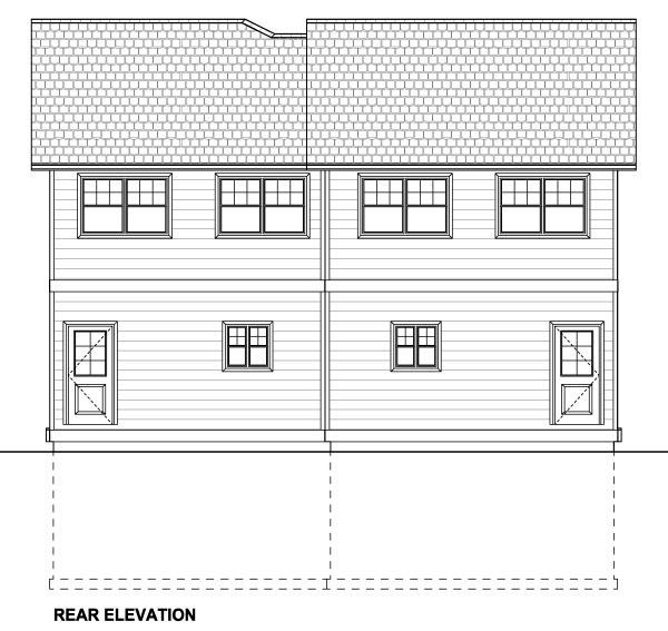 Multi-Family Plan 90887 with 8 Beds, 8 Baths, 2 Car Garage Rear Elevation