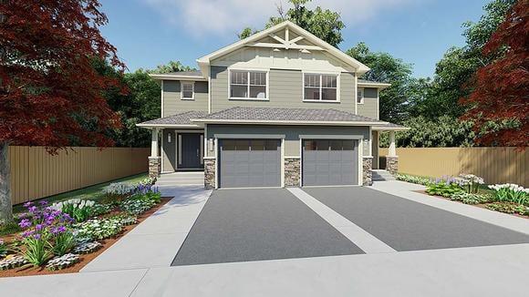 Craftsman Multi-Family Plan 90891 with 6 Beds, 6 Baths, 2 Car Garage Elevation
