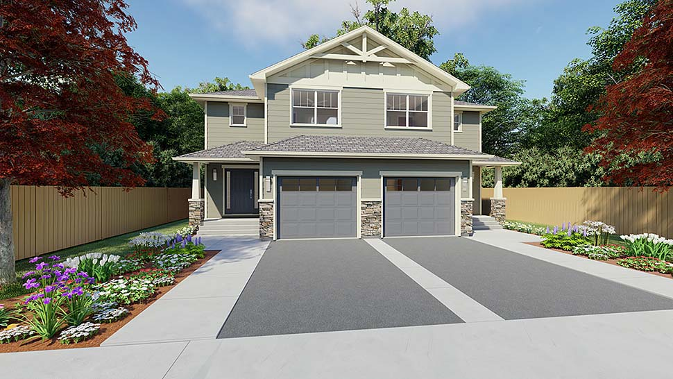 Craftsman Plan with 3406 Sq. Ft., 6 Bedrooms, 6 Bathrooms, 2 Car Garage Elevation