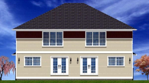 Craftsman Plan with 3406 Sq. Ft., 6 Bedrooms, 6 Bathrooms, 2 Car Garage Rear Elevation