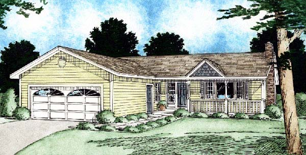 Ranch House Plan 90905 with 3 Beds, 2 Baths, 2 Car Garage Elevation