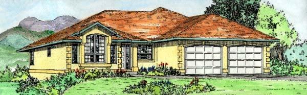 Southwest House Plan 90979 with 3 Beds, 2 Baths, 2 Car Garage Elevation