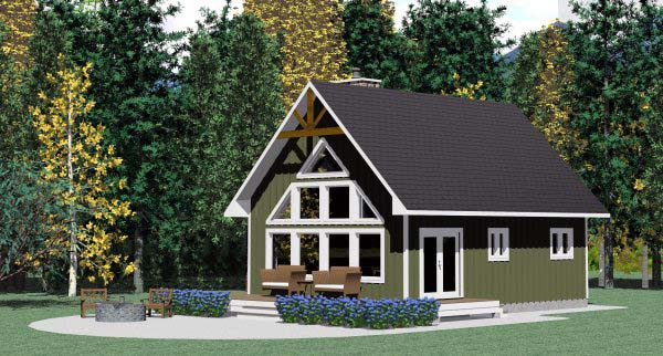 Elevation of Cabin   Contemporary   House Plan 90995