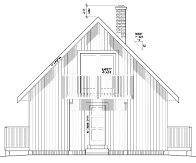 Rear Elevation of Cabin   Contemporary   House Plan 90995