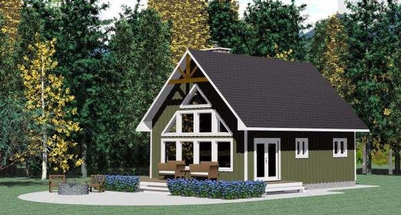 Cabin, Contemporary, Cottage House Plan 90995 with 3 Beds, 1 Baths Elevation