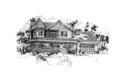 Farmhouse Victorian House Plan 91053 Elevation