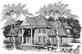 Colonial, European House Plan 91110 with 4 Beds, 4 Baths, 2 Car Garage Elevation