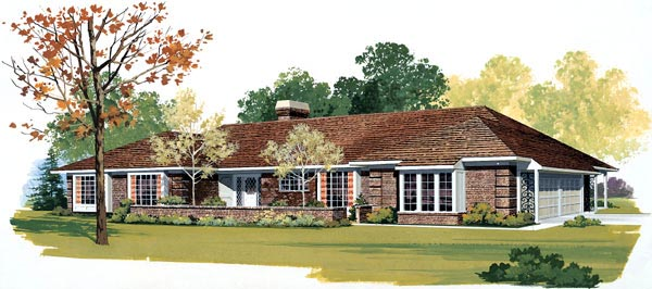 Ranch House Plan 91201 Elevation