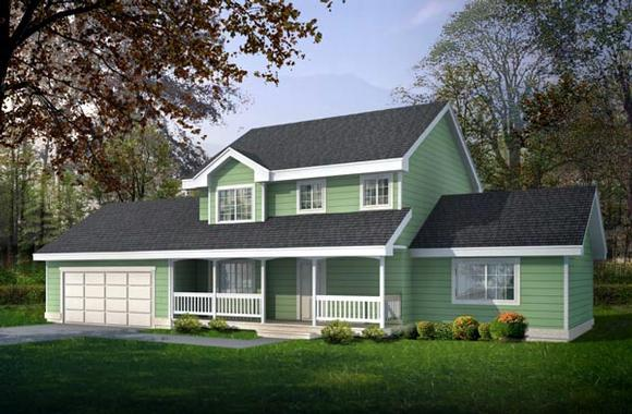 Country, Farmhouse, Southern, Traditional House Plan 91609 with 4 Beds, 3 Baths, 2 Car Garage Elevation