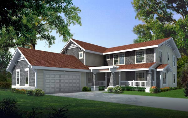Country, Craftsman House Plan 91620 with 4 Beds, 4 Baths, 2 Car Garage Elevation