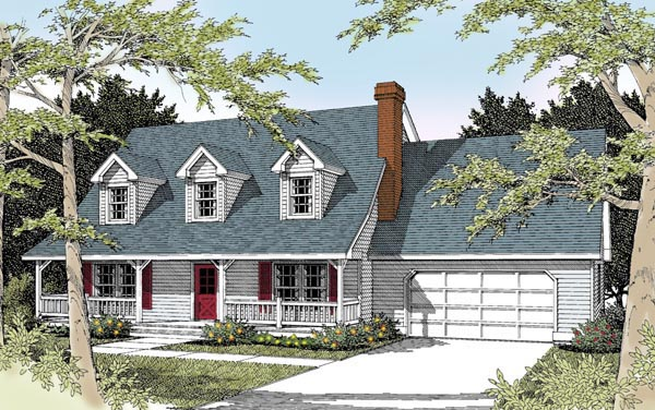 Elevation of Cape Cod   Country   House Plan 91631