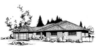 Contemporary Prairie Style Southwest House Plan 91649 Elevation