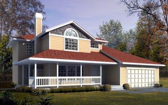 Contemporary House Plan 91660 with 3 Beds, 3 Baths, 2 Car Garage Elevation