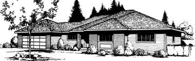Prairie Style Southwest House Plan 91667 Elevation