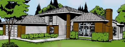 Contemporary Prairie Style Southwest House Plan 91674 Elevation