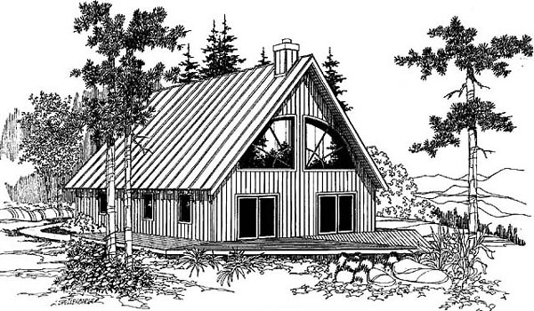 Elevation of A-Frame   Cabin   House Plan 91725