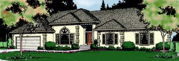 Country, European, Mediterranean House Plan 91818 with 3 Beds, 3 Baths, 2 Car Garage Elevation