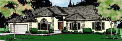Country, European, Mediterranean House Plan 91818 with 3 Beds, 3 Baths, 2 Car Garage Elevation